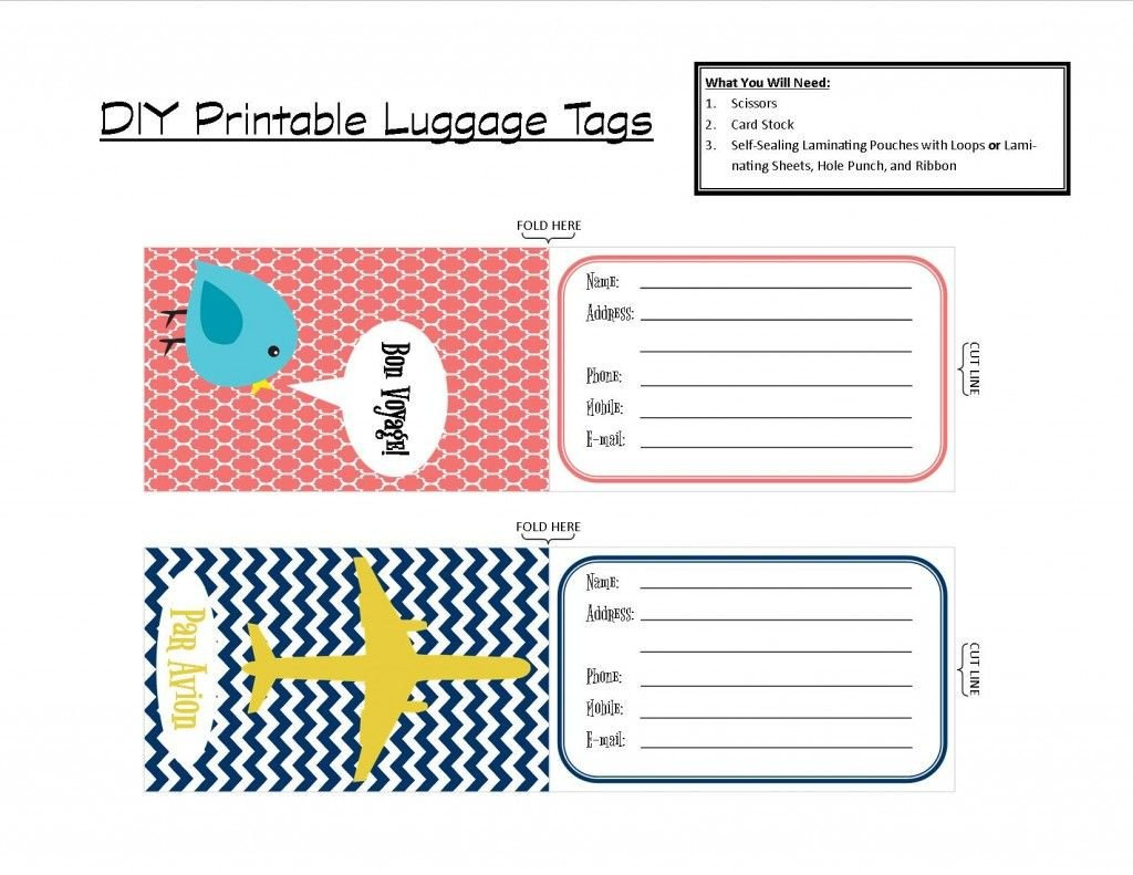 Free Luggage Tag Template Printable Tags