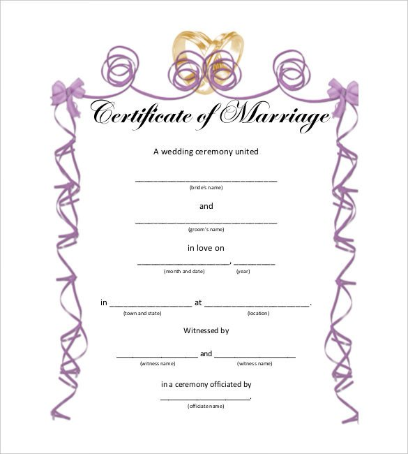 Free Marriage Certificate Template 10 Marriage Certificate Templates