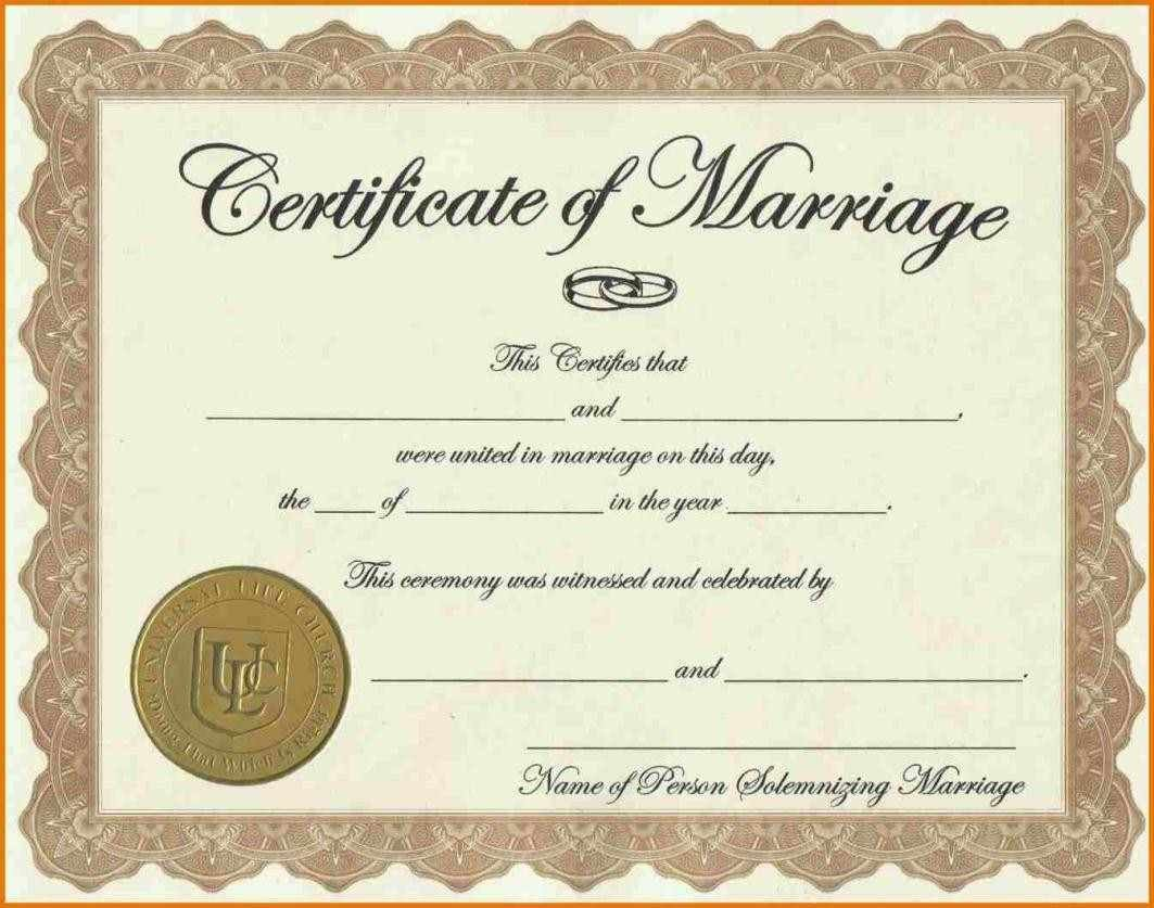 Free Marriage Certificate Template Certificate Templates Sample Marriage Certificates