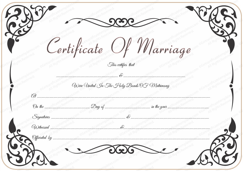 Free Marriage Certificate Template Free Wedding Certificate Template with Traditional Swirls
