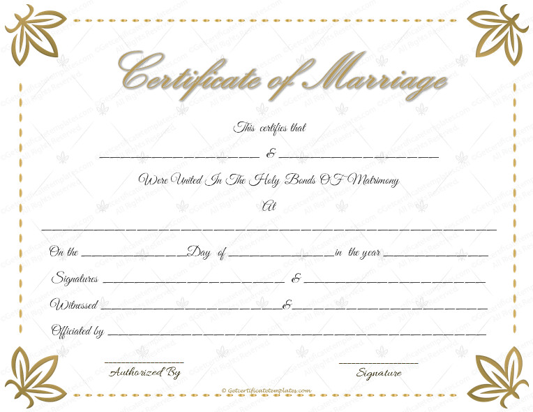 Free Marriage Certificate Template Wedding Certificate Template