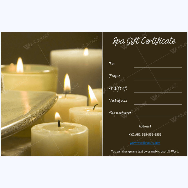 Free Massage Gift Certificate Template 50 Spa Gift Certificate Designs to Try This Season
