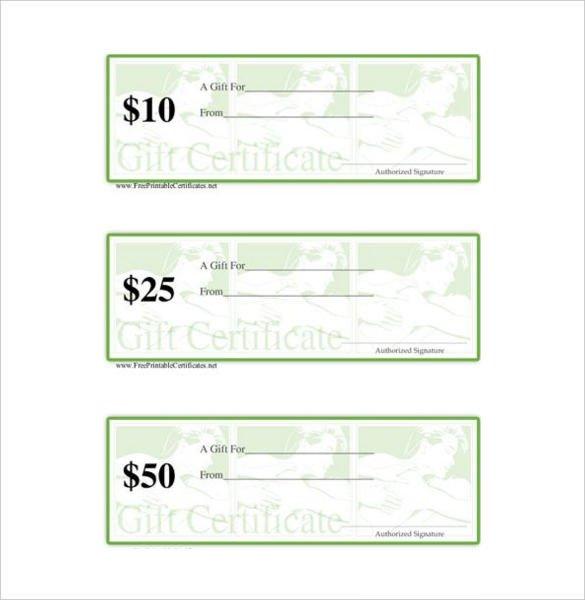 Free Massage Gift Certificate Template 7 Massage Gift Certificate Templates Free Sample