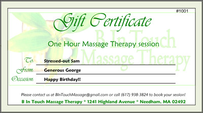 Free Massage Gift Certificate Template B In touch Massage therapy