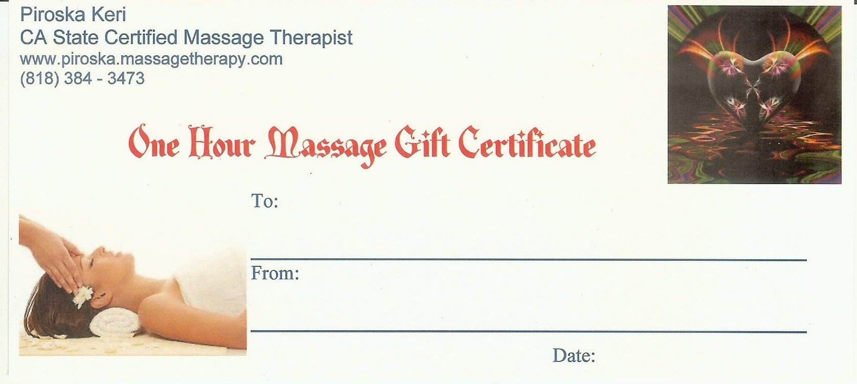 Free Massage Gift Certificate Template Buynow Paypal Credit Card
