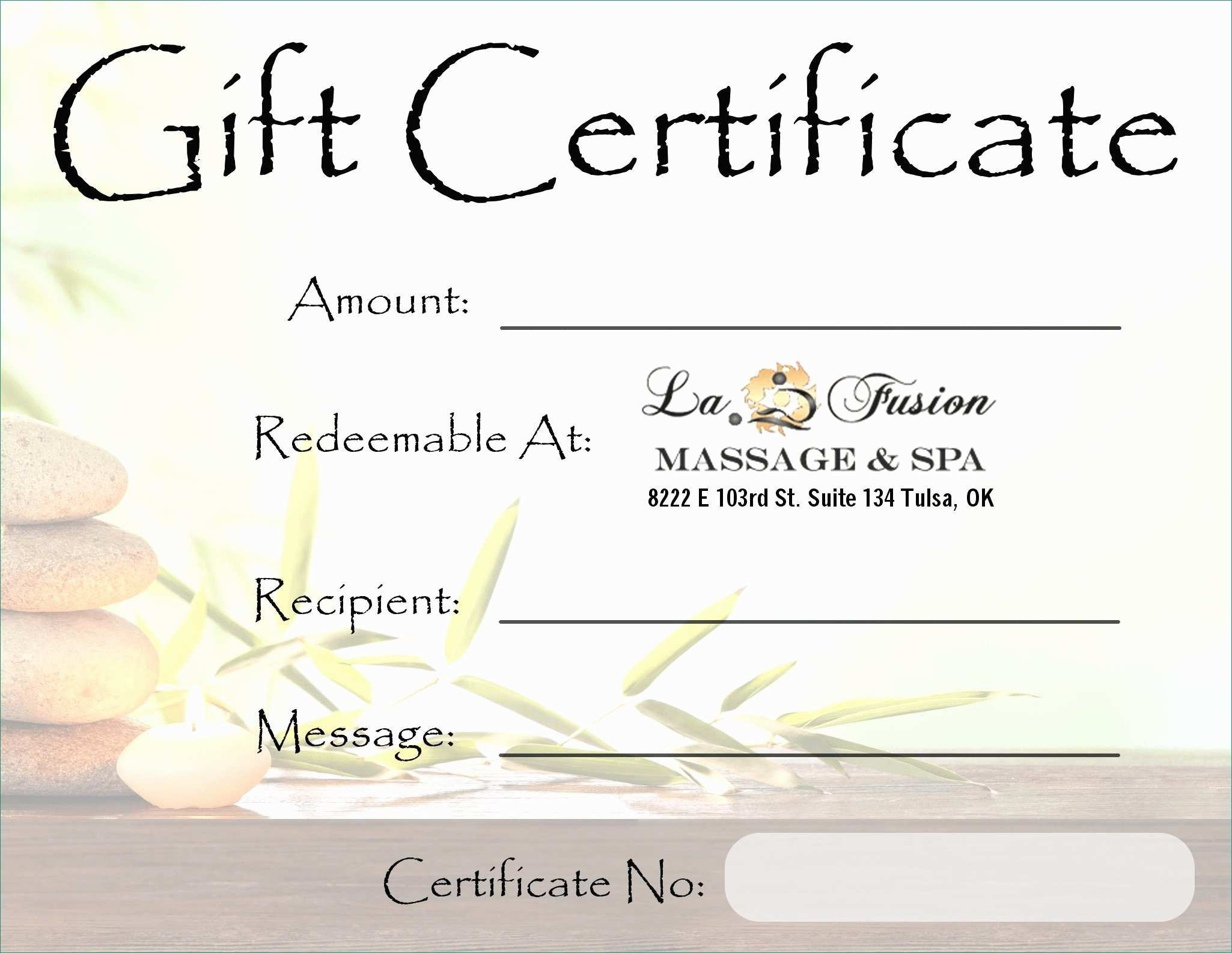 Free Massage Gift Certificate Template Free Printable Gift Certificate Templates for Massage