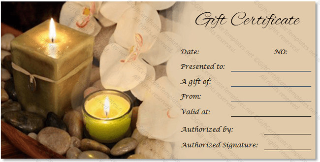 Free Massage Gift Certificate Template Spa Gift Certificate Templates