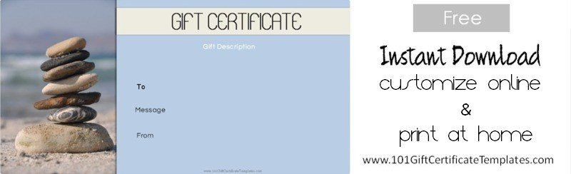 Free Massage Gift Certificate Template Spa Gift Certificates