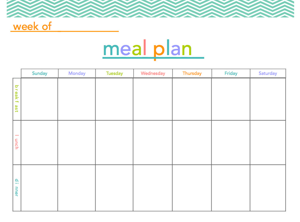 Free Meal Planner Template Free Meal Plan Printable All Things Mamma