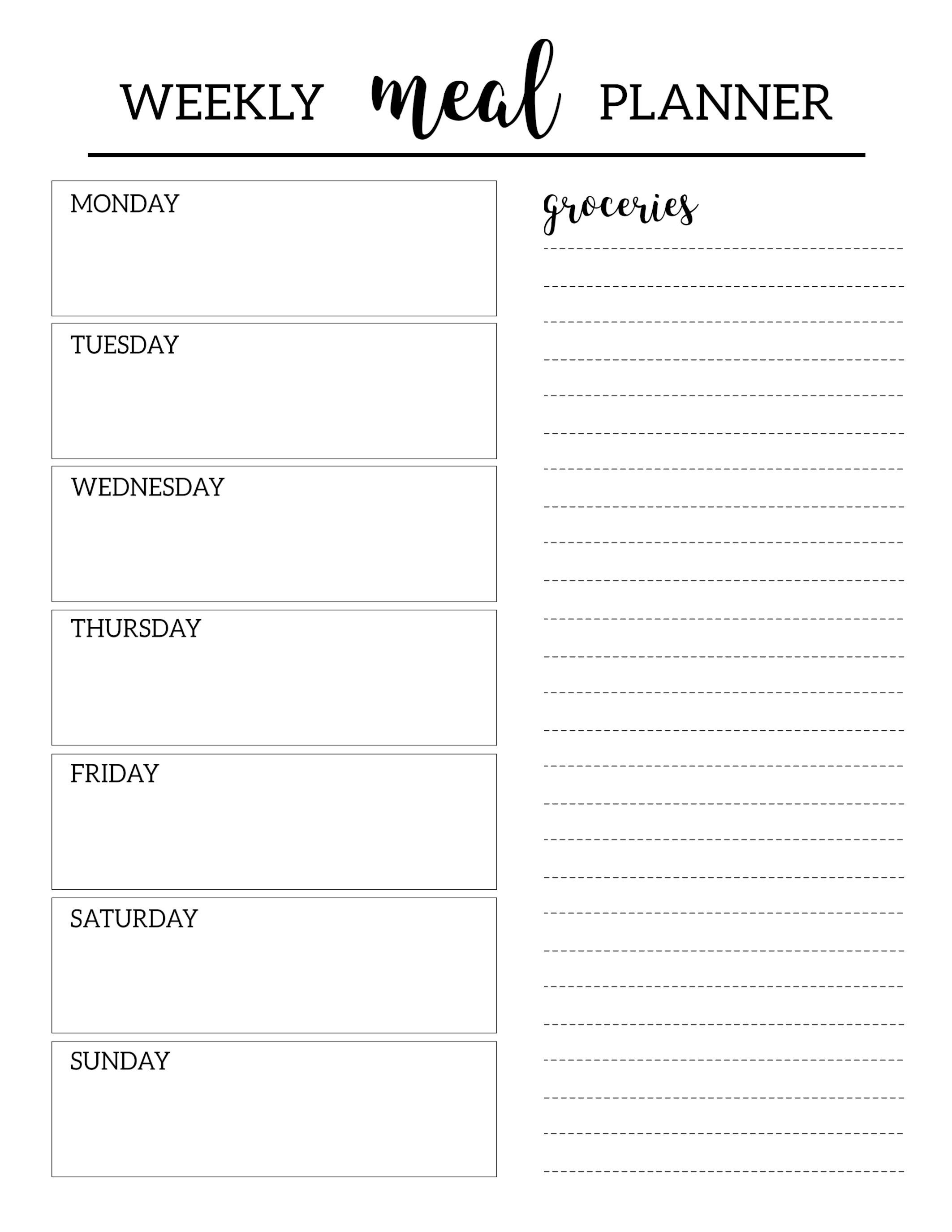 Free Meal Planner Template Free Printable Meal Planner Template Paper Trail Design