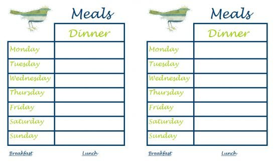 Free Meal Planner Template Free Printable Menu Templates