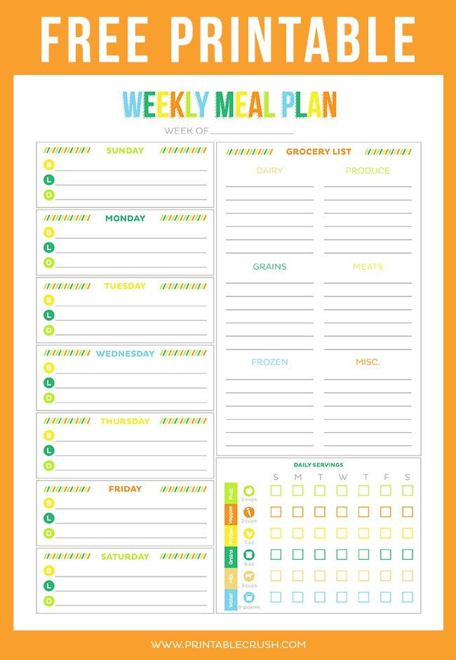 Free Meal Planner Template Free Printable Weekly Meal Planner Printable Crush