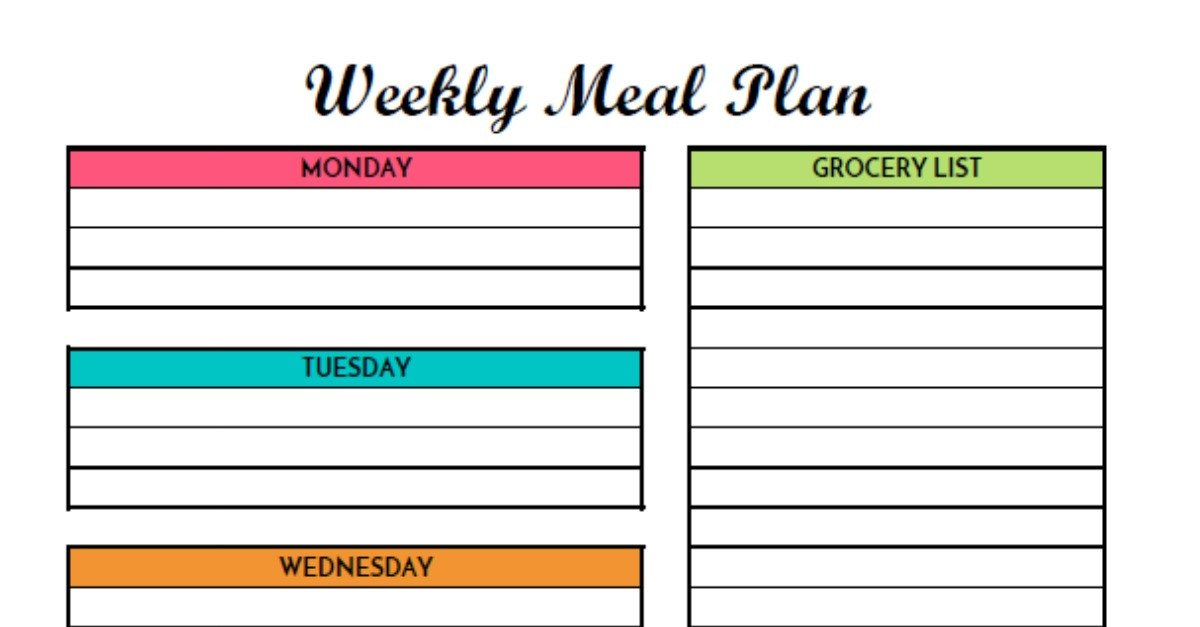 Free Meal Planner Template Free Weekly Meal Planning Printable with Grocery List