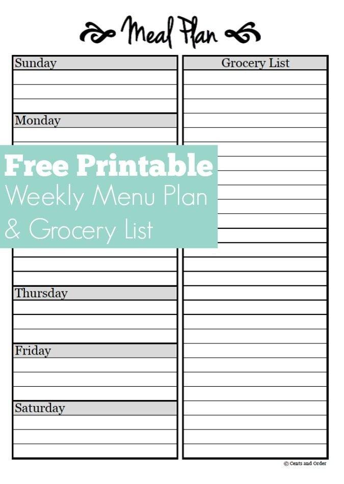 Free Meal Planner Template Meal Planning Free Weekly Menu Planner Printable