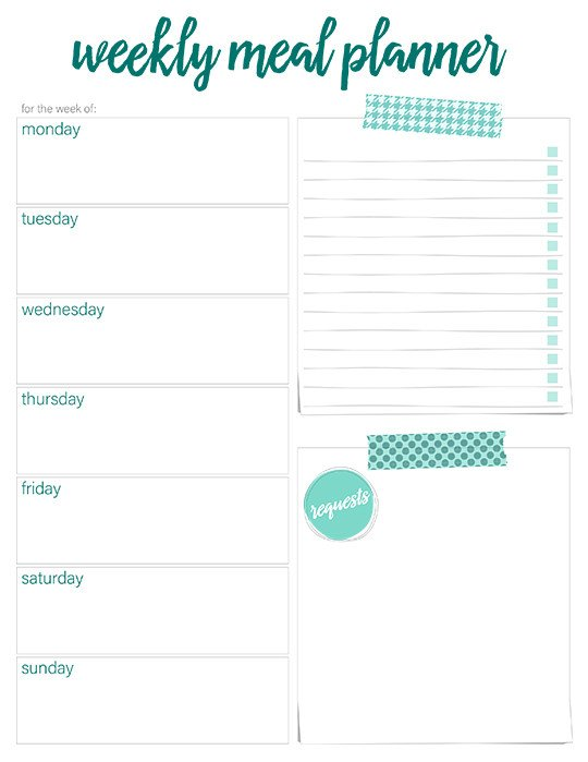 Free Meal Planner Template Printable Weekly Meal Planners Free