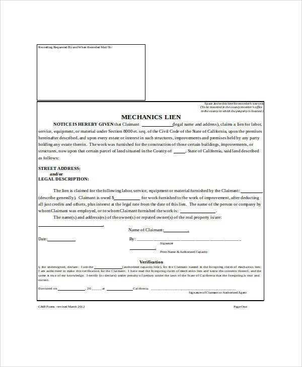 Free Mechanics Lien form Texas 27 Sample Claim forms In Word