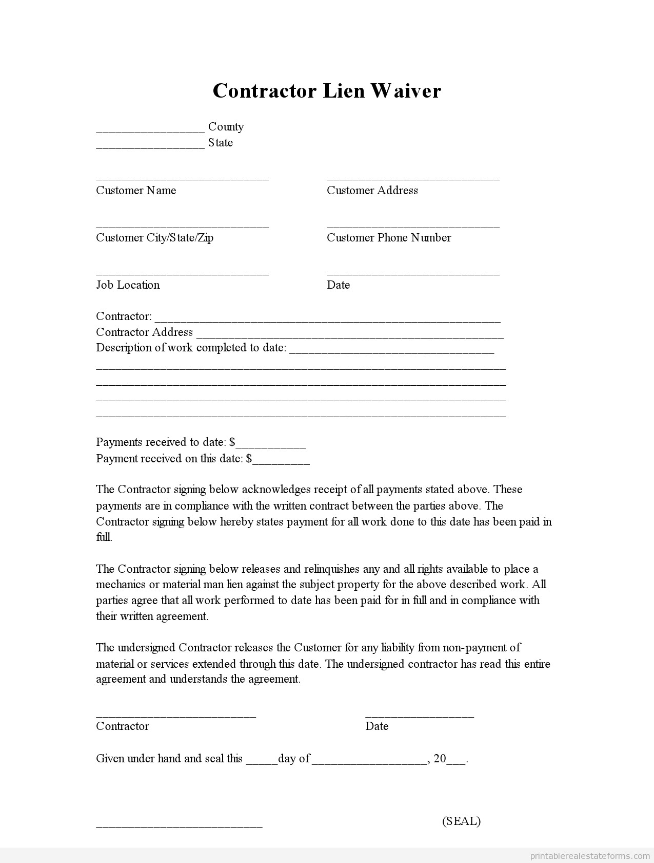 Free Mechanics Lien form Texas Free Printable Lien Waiver form Editable Pdf & Word