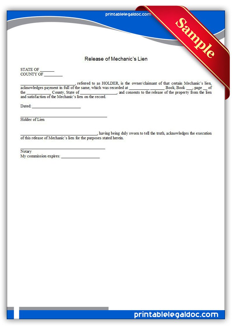 Free Mechanics Lien form Texas Free Printable Release Mechanic S Lien form Generic
