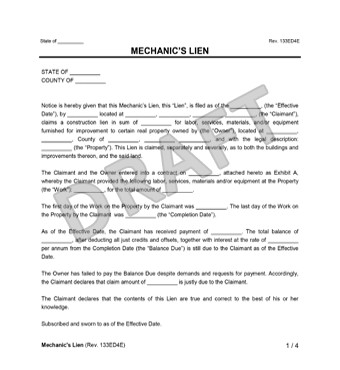 Free Mechanics Lien form Texas Mechanic S Lien
