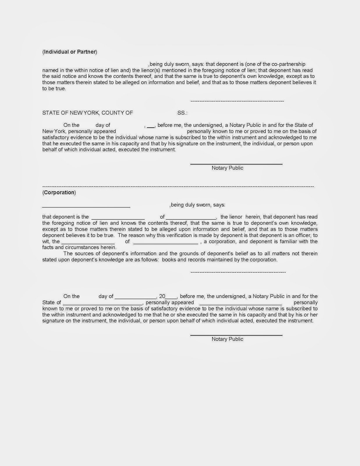 Free Mechanics Lien form Texas New York Mechanic S Lien Free Sample New York Mechanic S