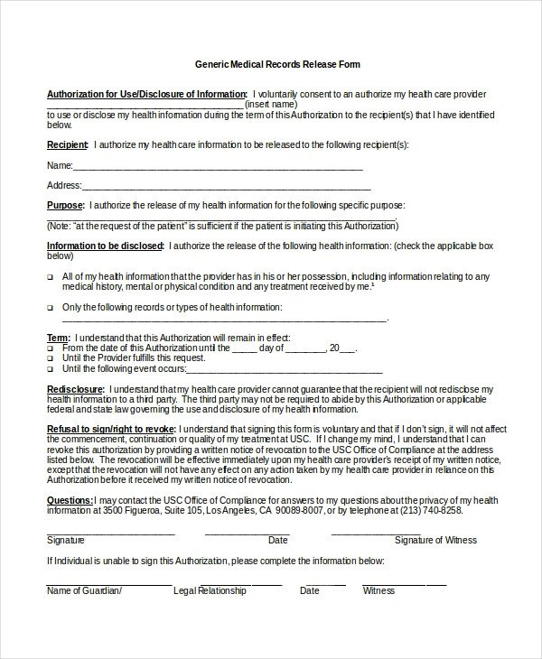 Free Medical Release form 10 Medical Release forms Free Sample Example format