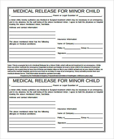 Free Medical Release form Medical Release form for Child Sample 9 Examples In