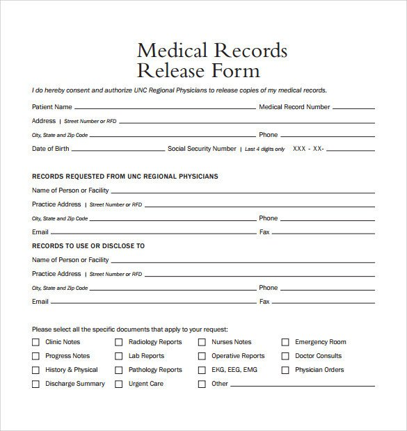 Free Medical Release form Sample Medical Records Release form 9 Download Free