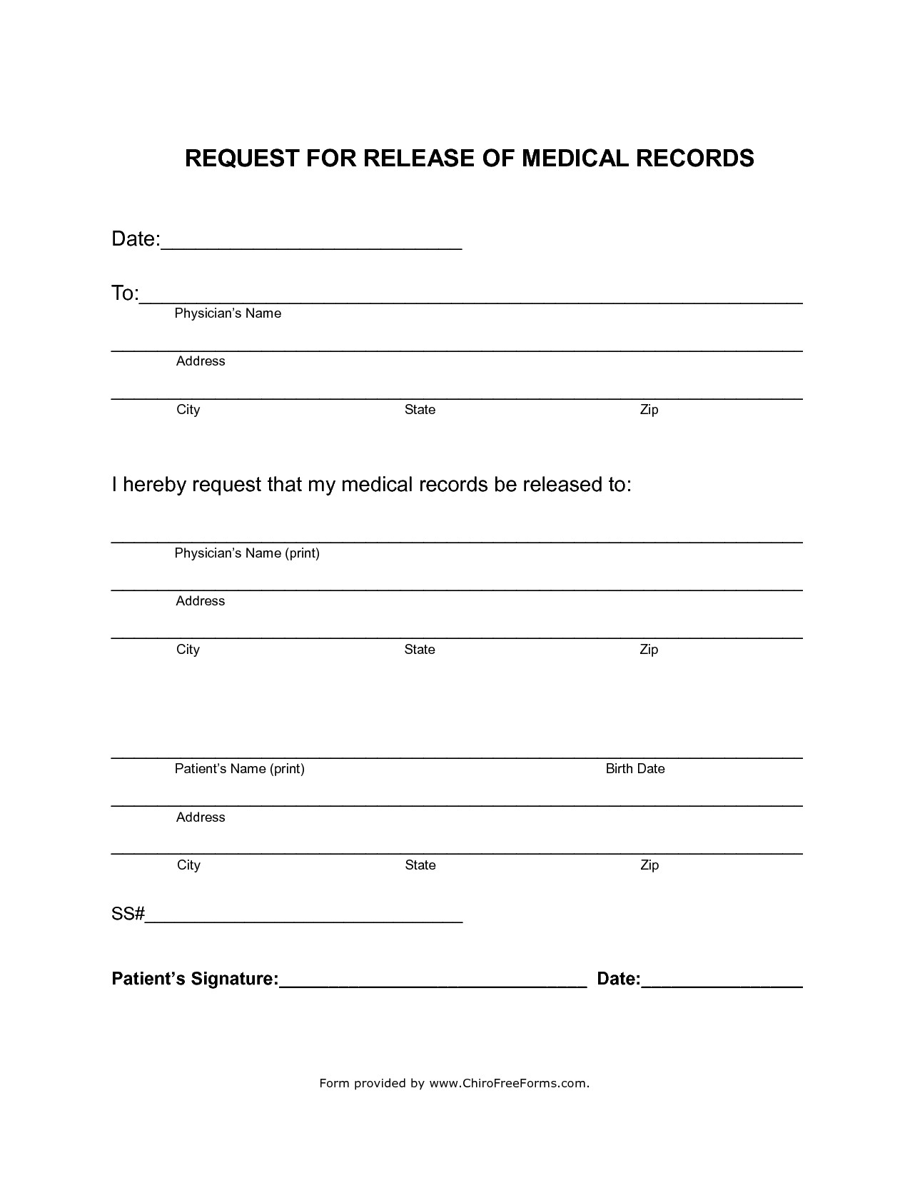 Free Medical Release form Simahealing Blog