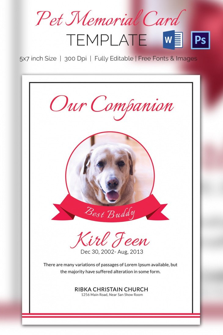 Free Memorial Card Template 5 Pet Memorial Card Template Word Psd Pages