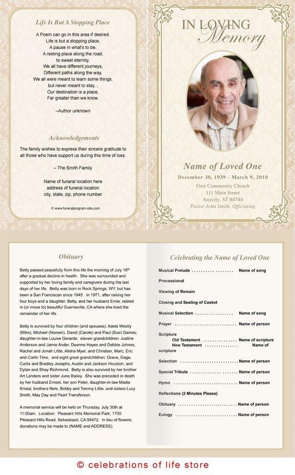 Free Memorial Card Template Alexandria Printable Funeral Program Template