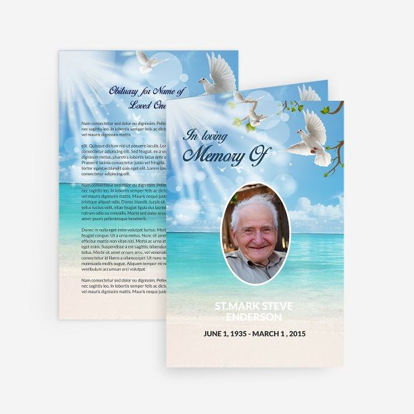 Free Memorial Card Template Dove Funeral Card Funeral Pamphlets