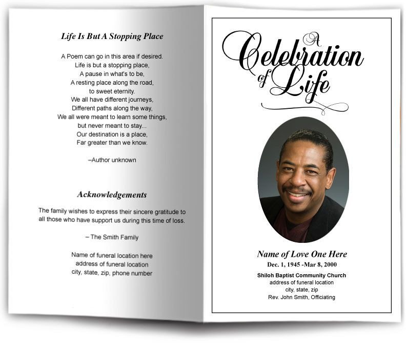 Free Memorial Card Template Funeral Program Obituary Templates