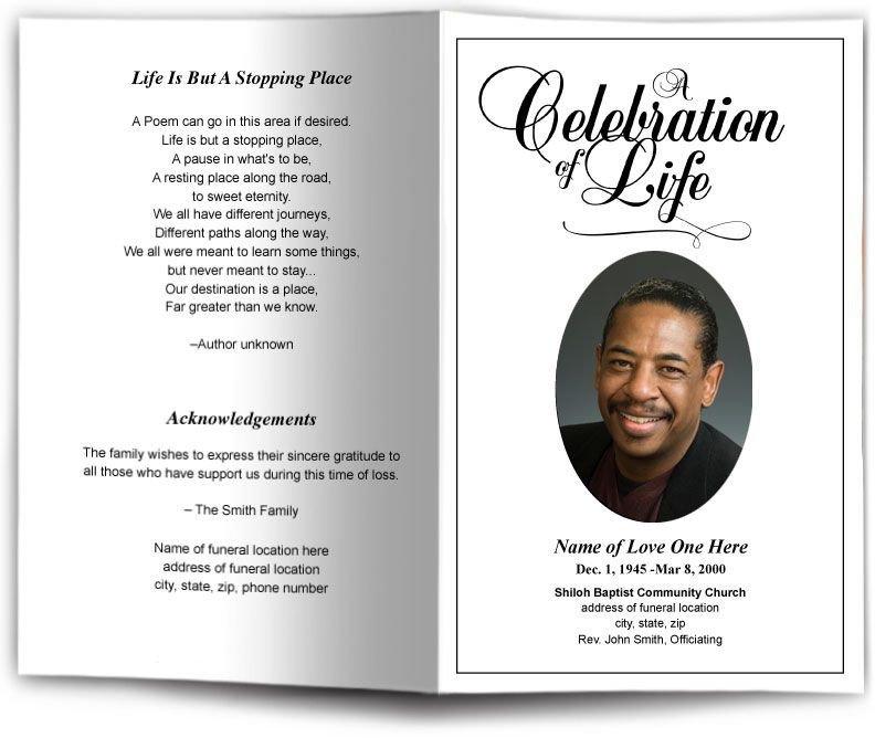 Free Memorial Card Template Funeral Program Obituary Templates
