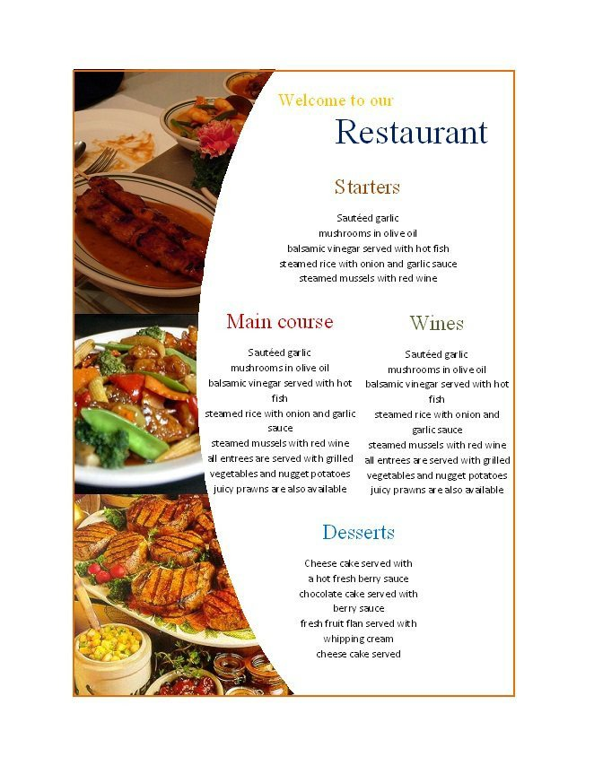 Free Menu Template for Word 31 Free Restaurant Menu Templates & Designs Free