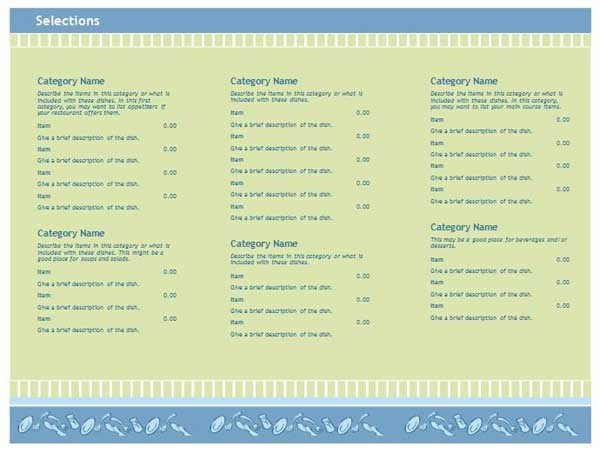 Free Menu Template for Word Free Restaurant Menu Templates Microsoft Word Templates