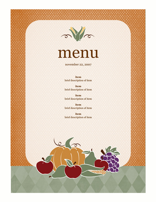 Free Menu Template for Word Menu Template Word
