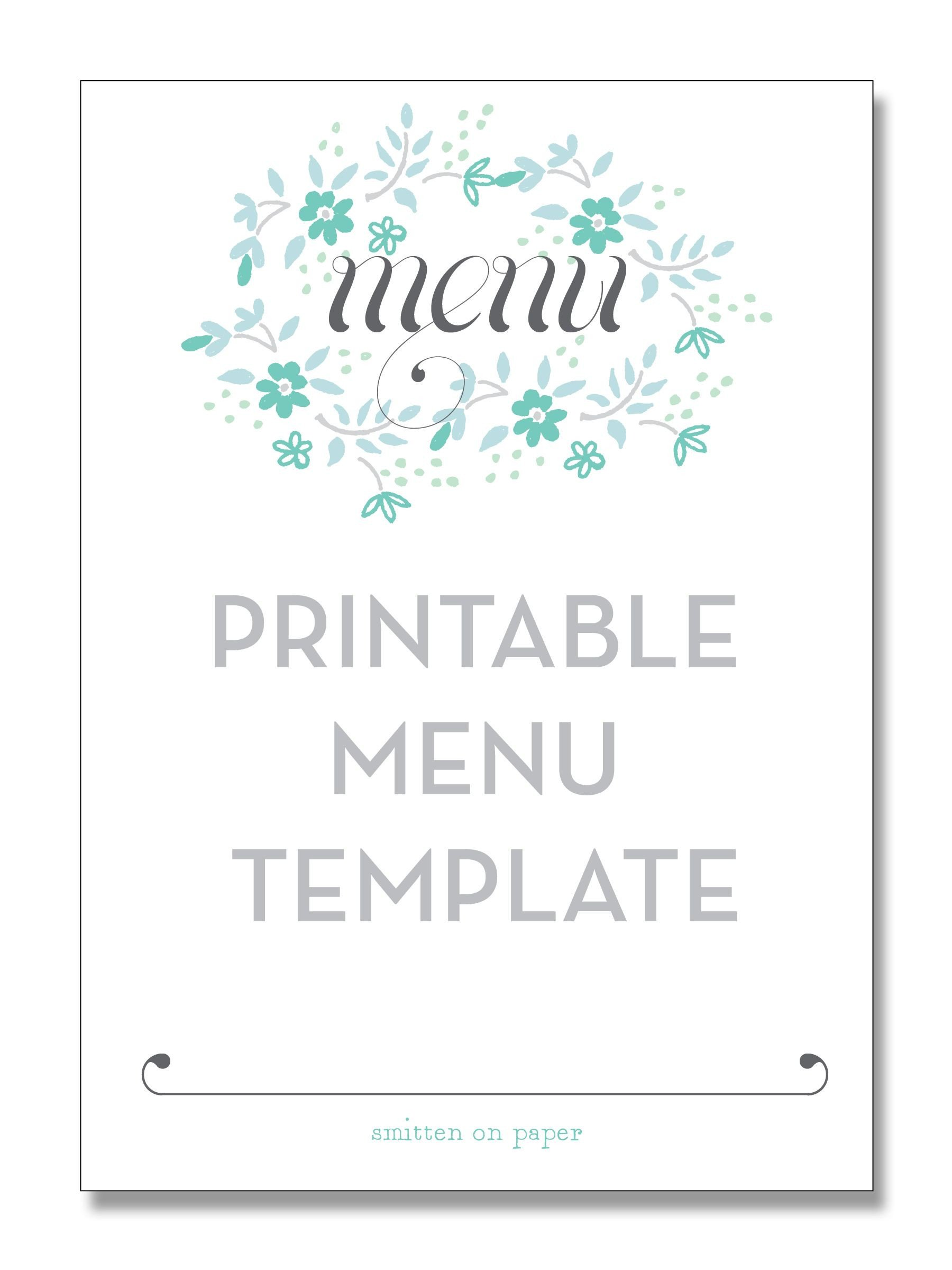 Free Menu Template for Word Printable Menu Template From Smitten On Paper