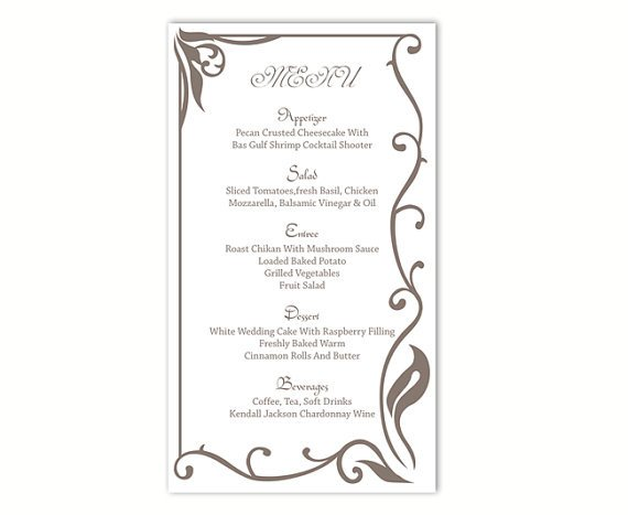 Free Menu Template for Word Wedding Menu Template Diy Menu Card Template Editable Text