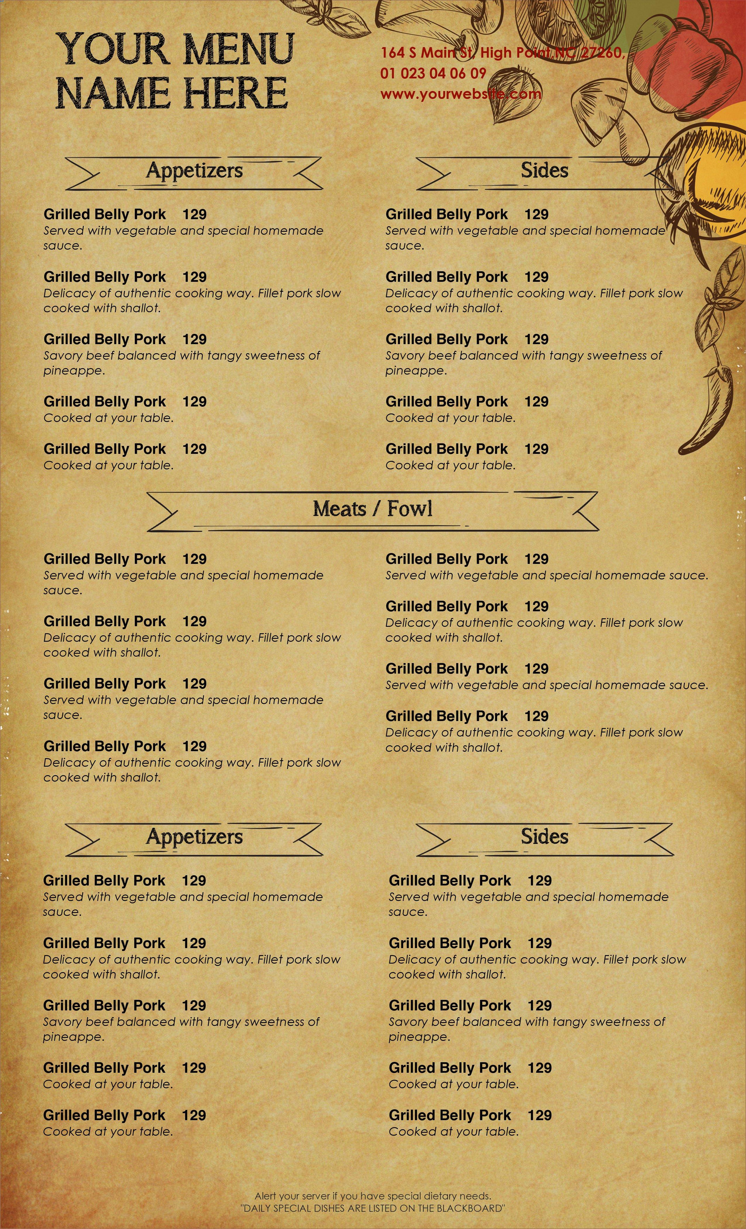Free Menu Templates for Word Design & Templates Menu Templates Wedding Menu Food