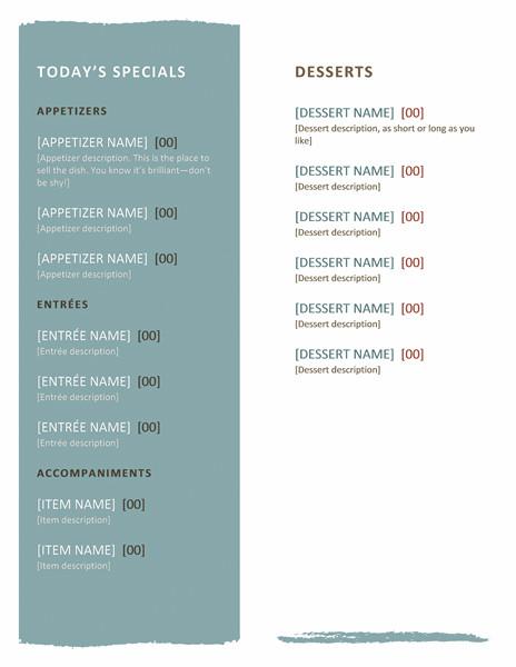 Free Menu Templates for Word Restaurant Menu Template Microsoft Word Templates