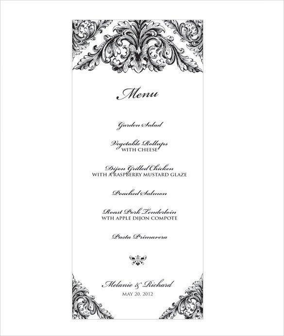 Free Menu Templates for Word Wedding Menu Template 31 Download In Pdf Psd Word