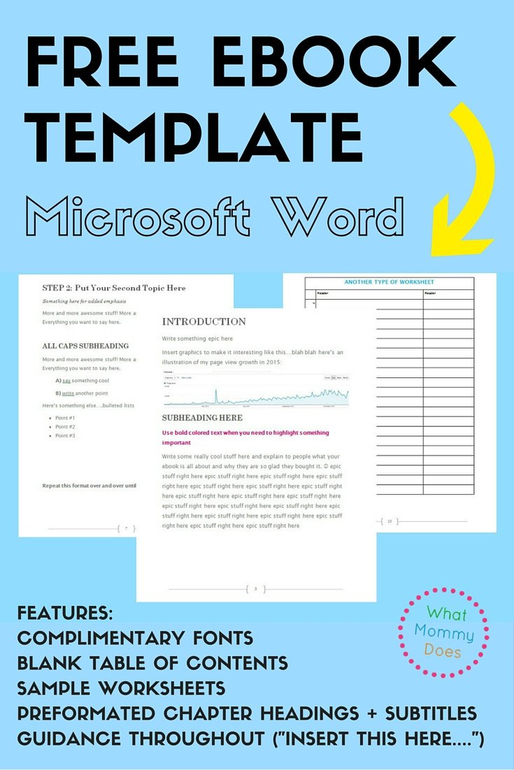 Free Microsoft Word Templates Free Ebook Template Preformatted Word Document What