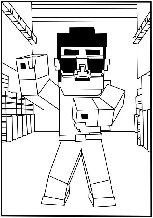 Free Minecraft Coloring Pages A Free Printable Minecraft Gangnam Style Coloring Page