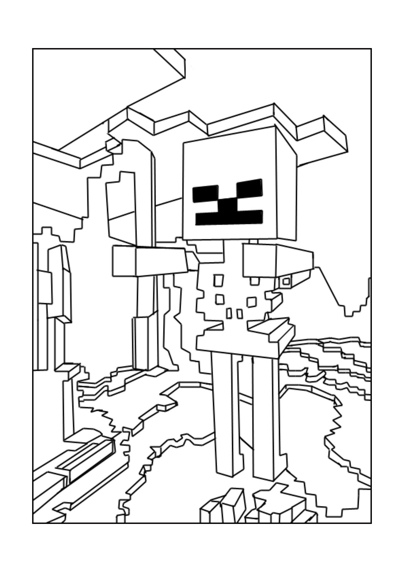 Free Minecraft Coloring Pages A Minecraft Skeleton Coloring Page