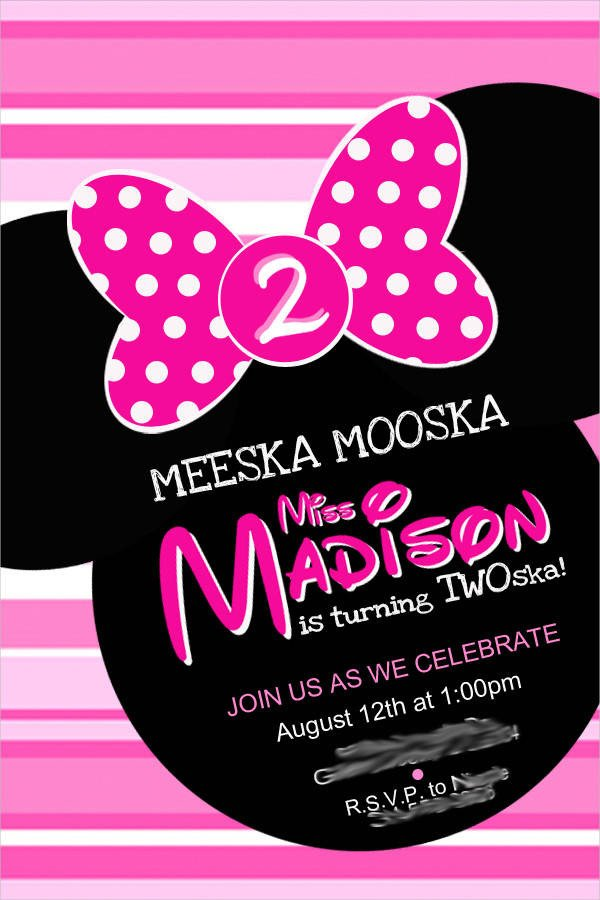 Free Minnie Mouse Invitations 12 Minnie Mouse Birthday Invitations Psd Vector Eps