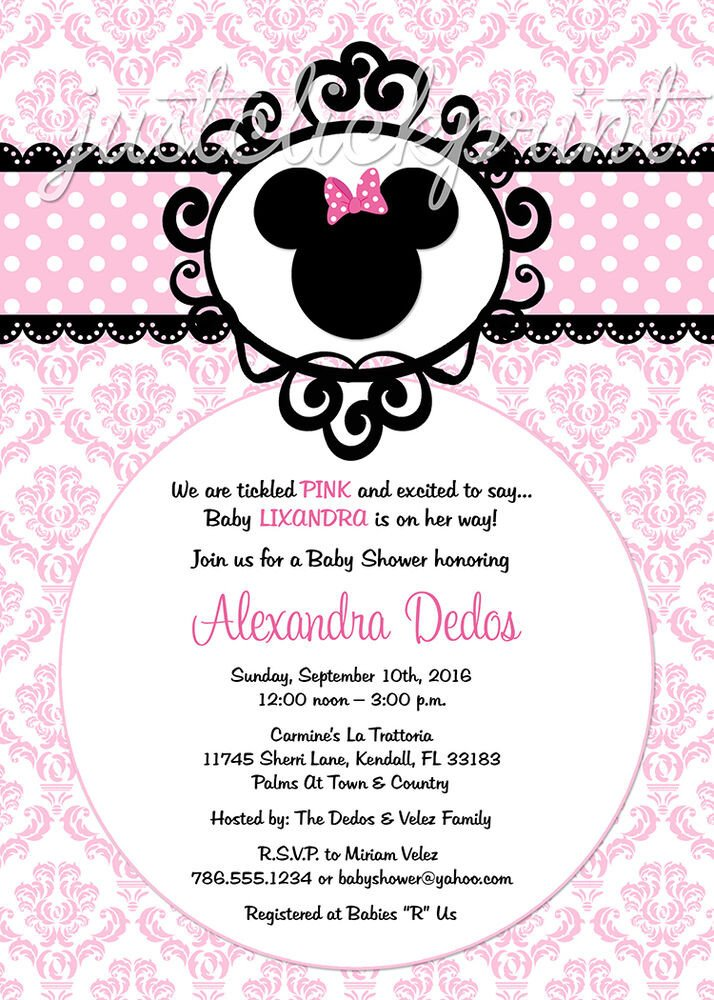 Free Minnie Mouse Invitations 5x7 Printed Minnie Mouse Pink Damask Party Invitations