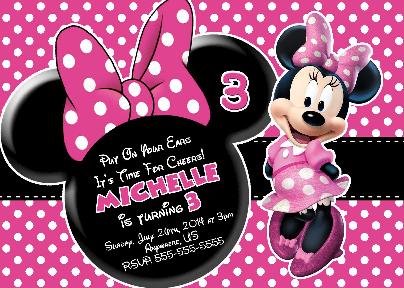 Free Minnie Mouse Invitations Free Minnie Mouse Printable Birthday Invitations