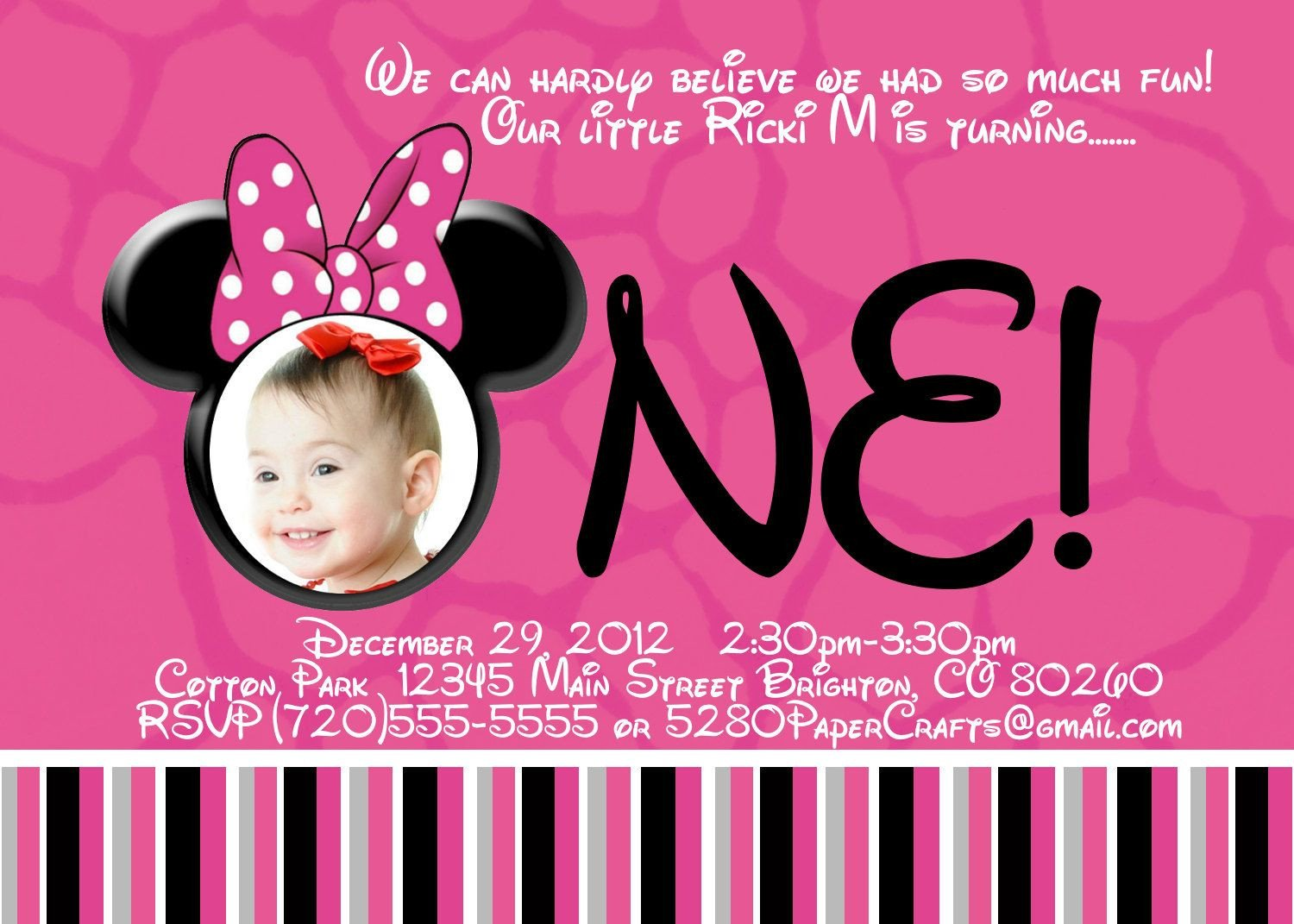 Free Minnie Mouse Invitations Free Printable Minnie Mouse 1st Birthday Invitations