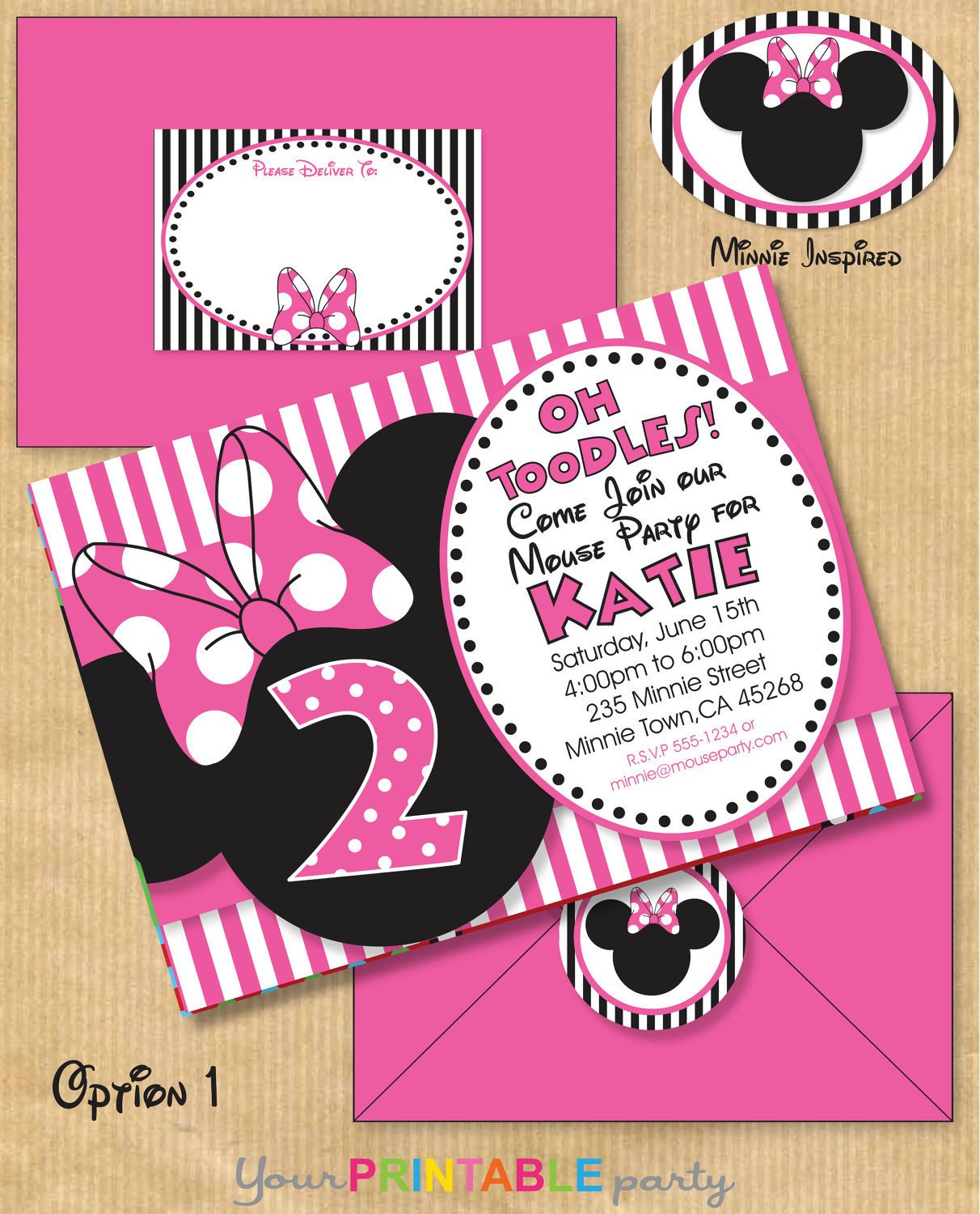 Free Minnie Mouse Invitations Minnie Mouse Inspired Birthday Party by Yourprintableparty