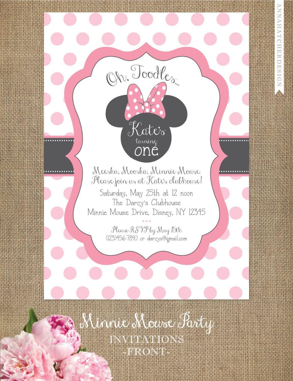 Free Minnie Mouse Invitations Minnie Mouse Invitation Editable Birthday Invitation